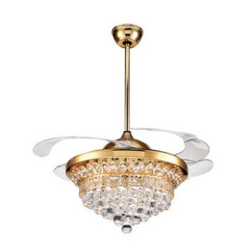 New product golden color remote control acrylic ceiling fans with lights for home
