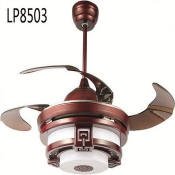 Classical allusion DC ceiling light with retractable fan ,42inch remote controlled ceiling fan with lamp Widely Voltage 110-240V