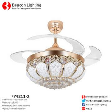 "Factory Price Hot sell Classic style 42"" Quiet Invisible Ceiling Fans with Led Light Crystal Glass Shade crystal for Bedroom"