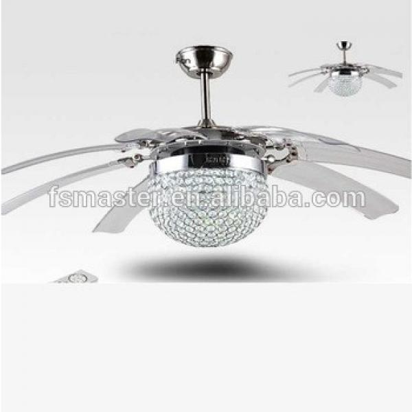 new arrival hidden blades luxury crystal ceiling 42 inch fan with LED