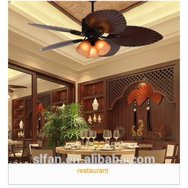52 inch brown finish ceiling fan light with 5pieces reversible plastic blades remote control