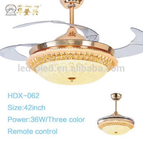 2017 High quanlity Crystal Decorative Invisible Ceiling Fan Light with Hidden Blades Remote Control