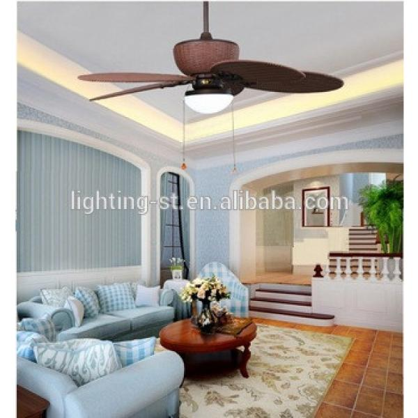 48 inch Ceiling Fan with Five Antique brown Wicker knitted Blades and Light Kit for tropical rainy climate PTSD185