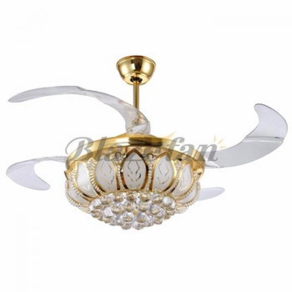 42 inch ceiling fan with hidden blades with LED light 4pcs ABS plastic blade 153*18 moter matt sliver or gold
