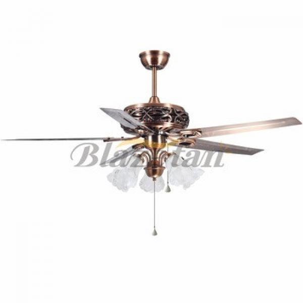 56 inch Remote control decorative ceiling fan with lights red brass Iron blade 188*15 moter 56-1513
