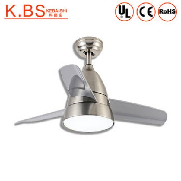 Modern Design Loft Style Chrome Metal Plastic Industrial Ceiling Fan With LED Light