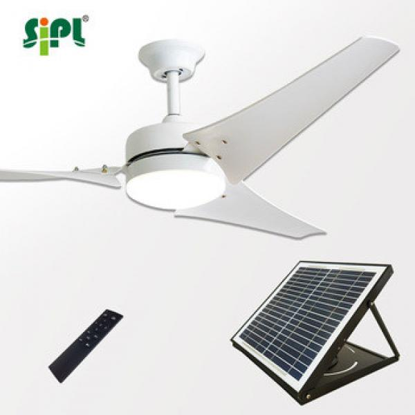 Green new sunny cool ceiling fan bldc solar panel dc powered residential ceiling fan with lights