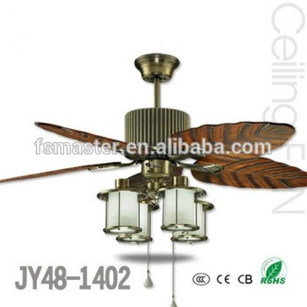 Bistro vitage wooden blades 48inch ceiling fan with light