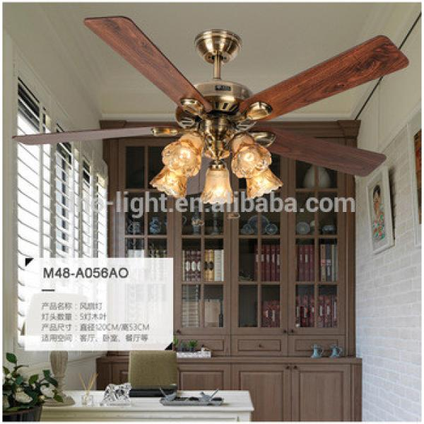 "48"" wood blade ceiling fan with light for home decorate E27"