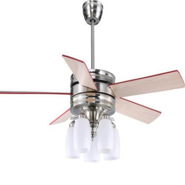 """52"""" designer ceiling fan with 5 pieces reversible wood blades nickel brush finish remote control"""