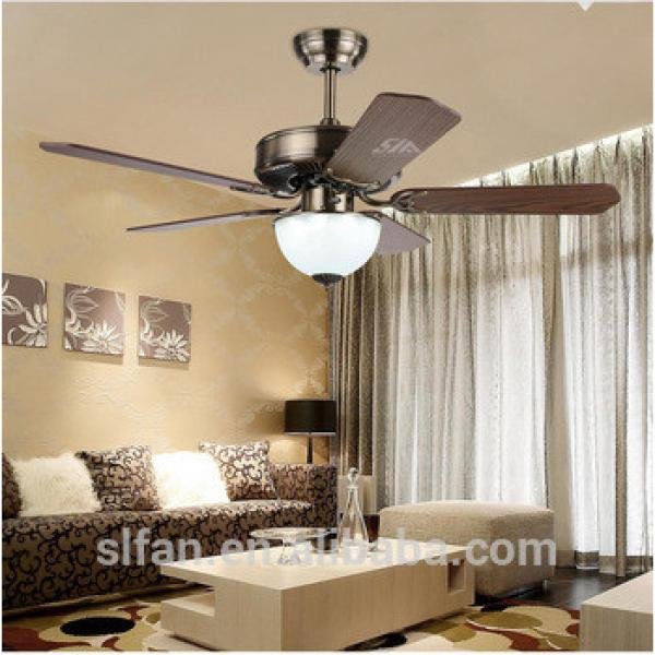 42 inch energy star 220V ceiling fan with four wood blades remote control+LED light kit with opal frosted glass