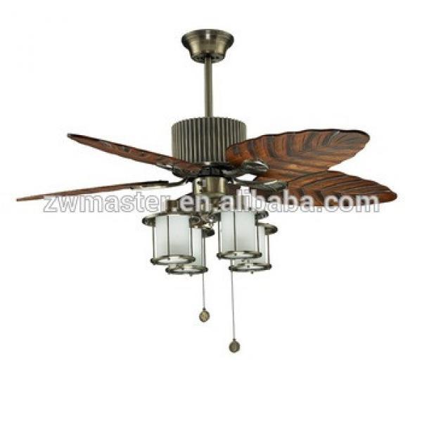 hawaii style wood leaf blades decor ceiling fan with light