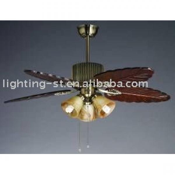 "Wood hand craft blade ceiling fan lamp 48""-YJ019"