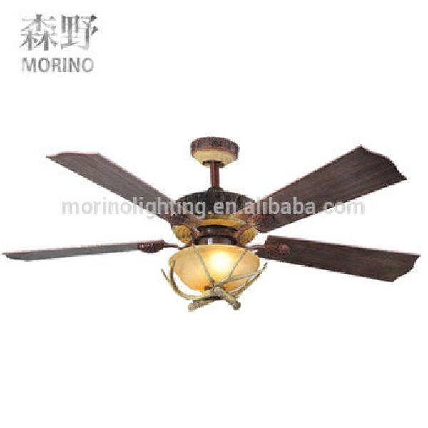 Vintage resign antlers fancy led ceiling fan light for hotel decoration