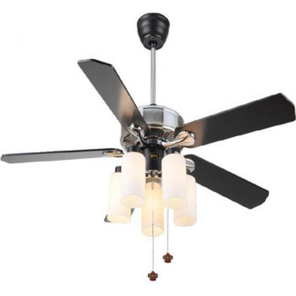 "52"" chrome finish ceiling fan light with 5 pieces wood blades reversible by rope control from Zhongshan"