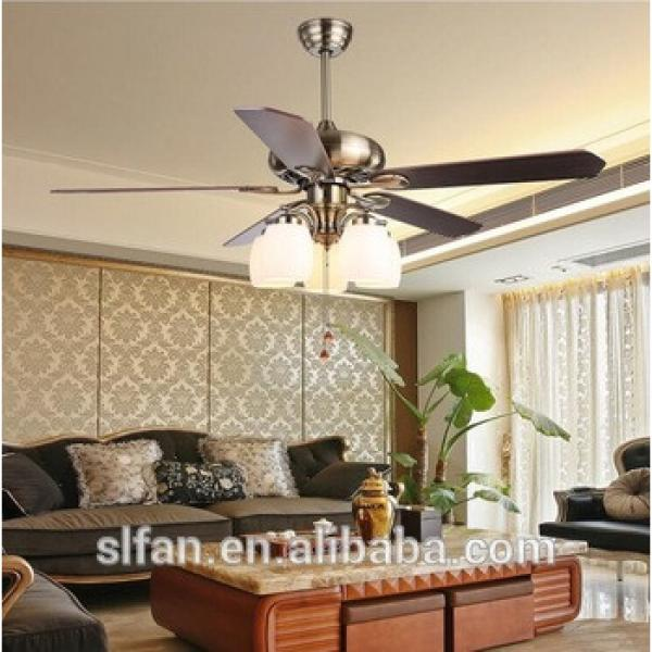 """52"""" bronze finish ceiling fan with lights and 5pieces reversible wood blade pull cord control"""