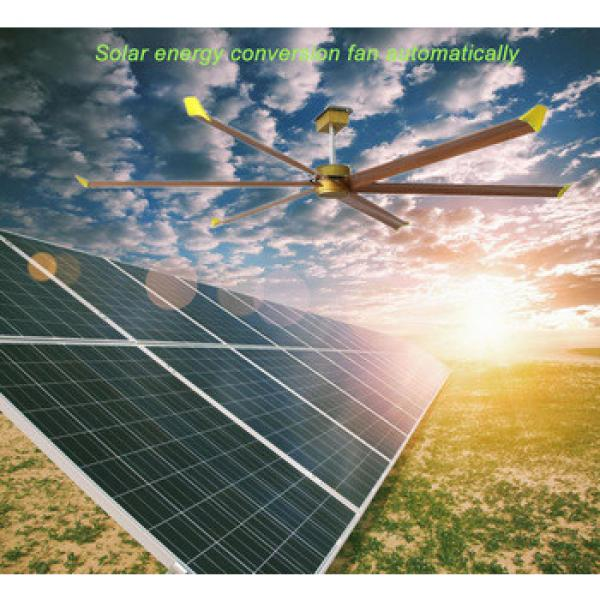 Solar automatic 4.2meters industrial hvls ceiling fan with brushless dc motor