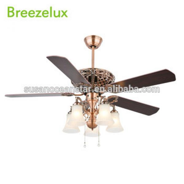Low Price wooden blades rose gold ceiling fan with light modern 52inch