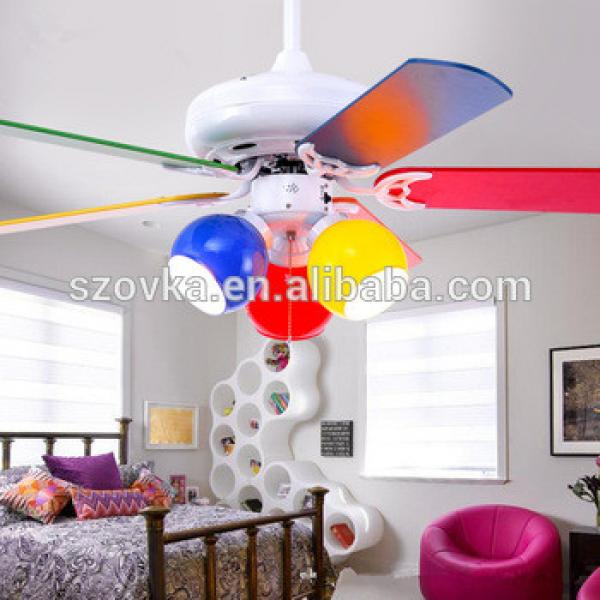 110V 42 inch cute colorful children's bedroom decorative wooden ceiling fan with lights