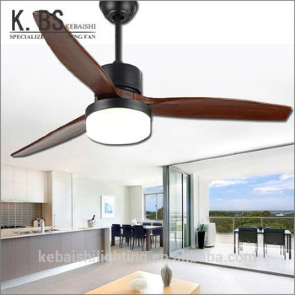 2018 New Type Simple Design Decorative Wooden Blade Black Ceiling Fan With Light
