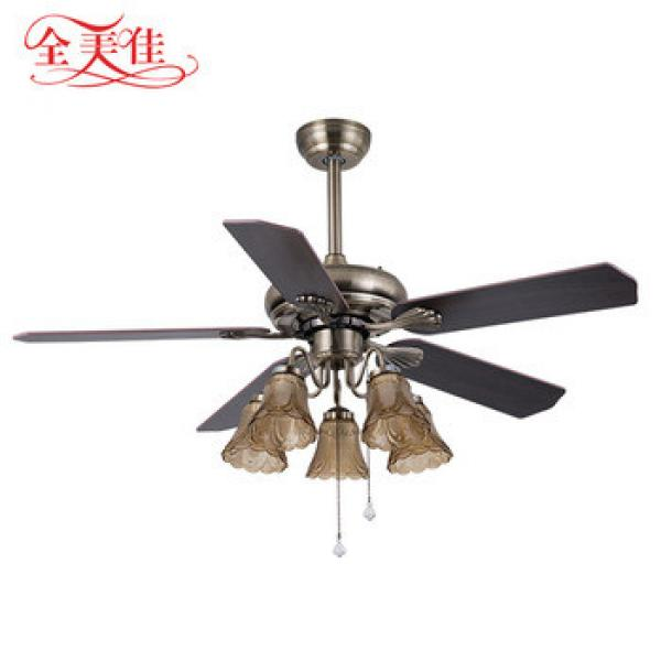 """Guzhen Lighting Market Classic Pull Rope 48"""" Wood Blades 5 Blades 220V Dc Motor Ceiling Fan With Indoor Ceiling Lamp"""