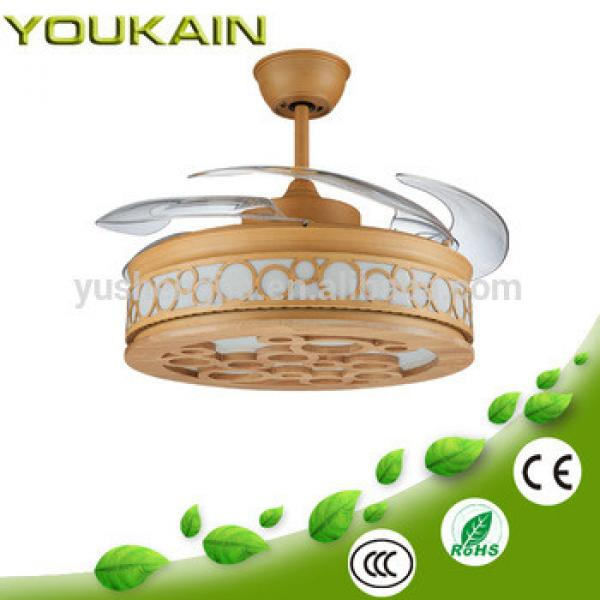 360 series retractable blades fancy fan with wooden-frame