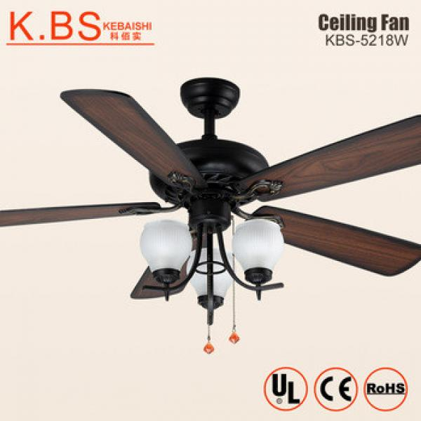 Antique Style Decorative Wood Blade Fan 3 Milk White Lamp Ceiling Fan With Light