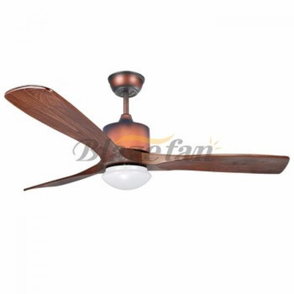 52 inch Remote control decorative ceiling fan with e14*2 led lights 3 Natural wood blade 153*18 moter 52-1307A
