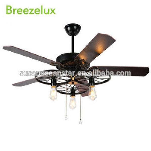 Antique natural dimmable 5 solid wood blades ceiling fans with led lights