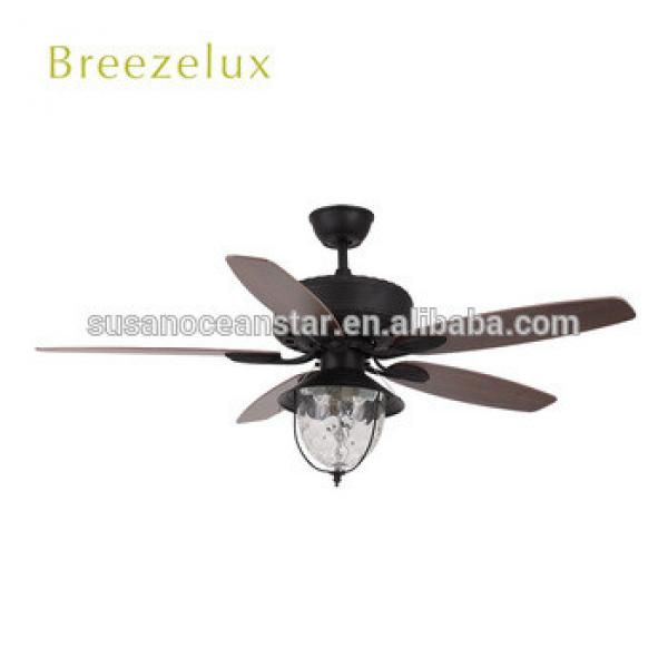 High Quality 5 Wooden Blades modern Glass lampshade ceiling Fan light
