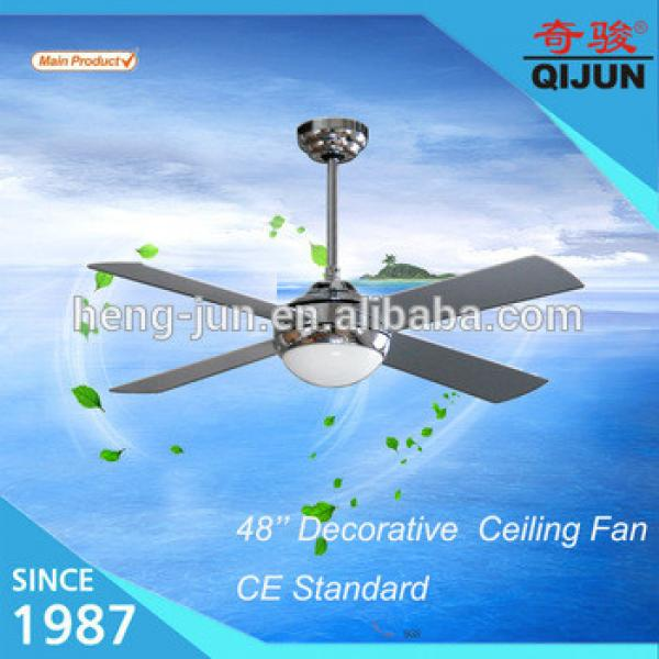 Remote control of 48 inch modern decorative lighting ceiling fan with 4 chrome MDF blades