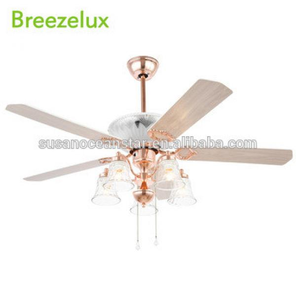 Popular style no noise wood blade rose gold 52 inch ceiling fan light