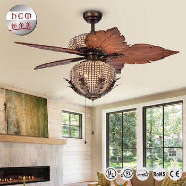 Cheap Price Energy Saving Dc Motor Crystal Fancy Ceiling Fan Light Wood Ceiling Fan