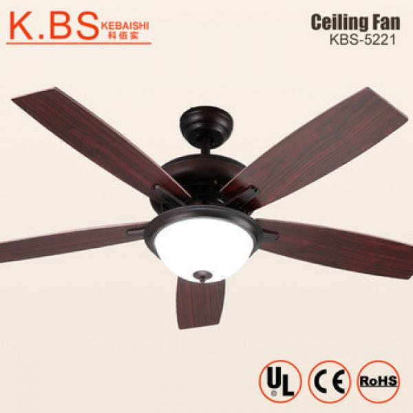 Decoration Electric Motor Air Cooling Fan 5 Wood Blade Ceiling Fan With Light