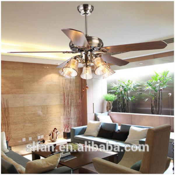 52 inch low profile bronze finish ceiling fan light with 5pieces reversible wood blade,pull cord control