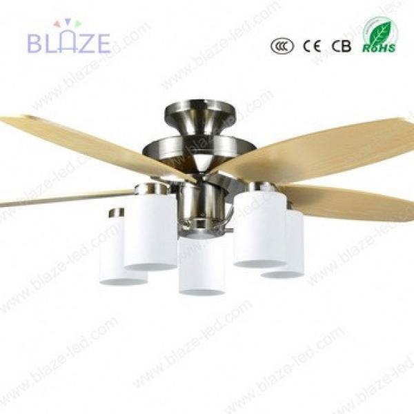 Retro Style four season wooden blade ceiling fan light