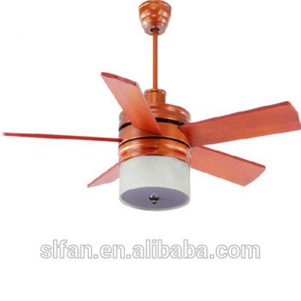 52 inch remote control fashion design indoor ceiling fan with wood blades