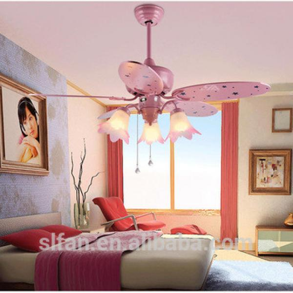 """42"""" ceiling fan wood blades pink color and glass light kits for girl/child room"""
