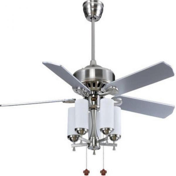 """52"""" brushed nickel finish wood blade ceiling fan with light pull cord control CE approved"""