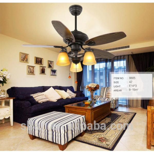 52 inch Tiffany wood blade ceiling fan with 4 pieces glass LED E27 light,CE,UL approves