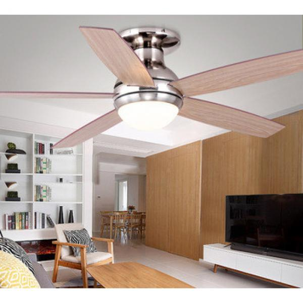 52 inch 2018 new design DC/AC motor ceiling fan with 5 wood blades and single light kit with remote control