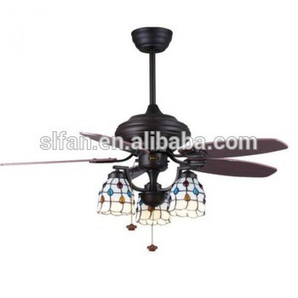 42 inch flush mount low profile electric power ceiling fan light with 5 pieces wood blades pull cord control
