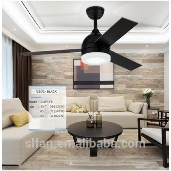 48'' wood blade ceiling fan in brush nickel finish with LED light kits and remote control Malaysia style