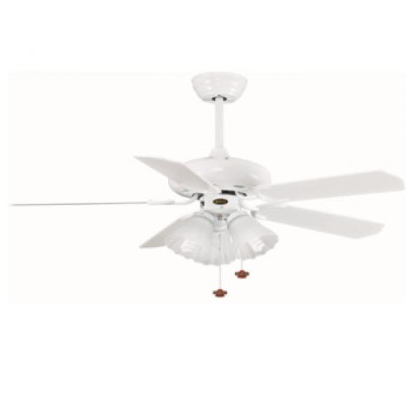 European style wooden blade ceiling fan with lights AC motor fan white blade fan