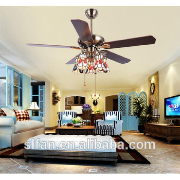 52 inch wood blade ceiling fan in bronze finished with 5 pieces reversible blades and light kits with glass lampshade
