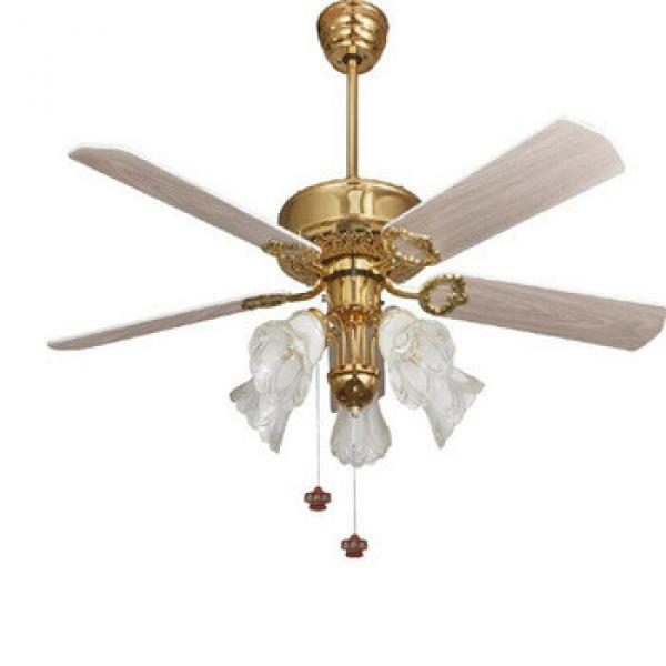52 inch low energy design ceiling fan with light in bronze finish,5 pieces reversible wood blades by rope control