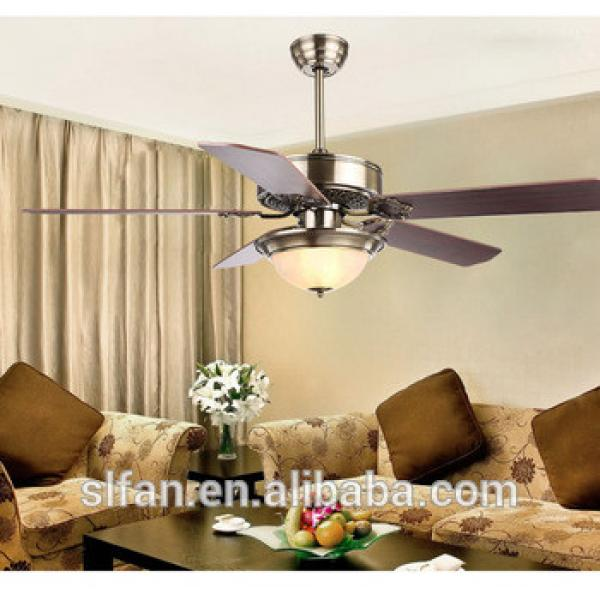 """52"""" antique brass ceiling fan with single led light kit and 5pieces reversible wood blade remote control"""