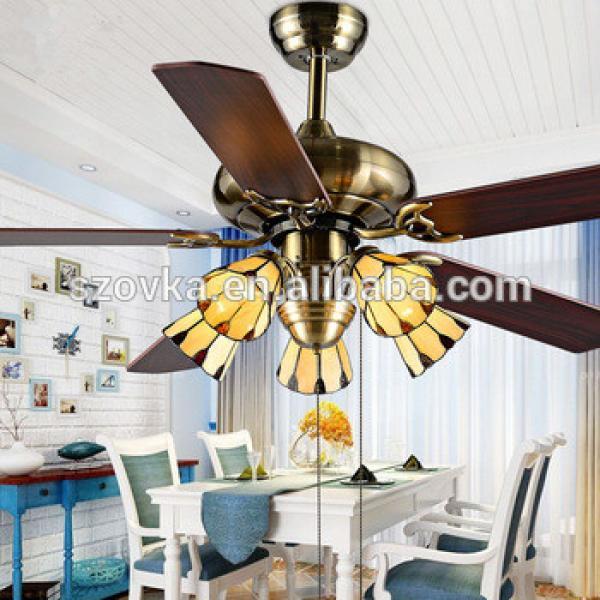 110V tiffany glass shade E27 bulb iron leaf retro bronze ceiling fan lights for bedroom