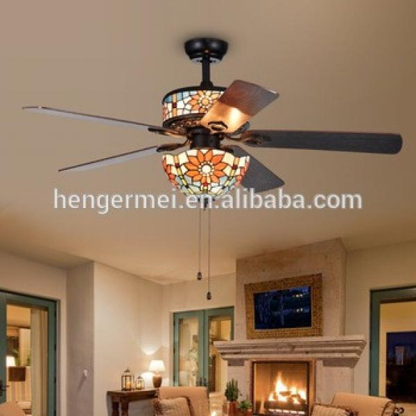 Best American Or European Style Ac Suspended Branded Tiffany Style Ceiling Fan With Light Kit