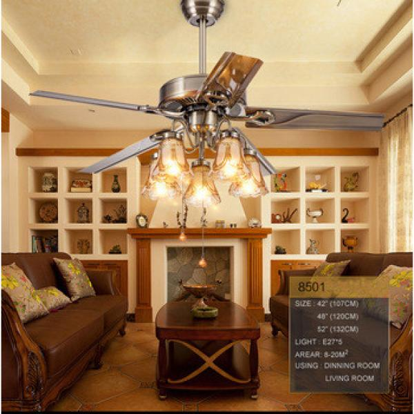 52 inch copper fan European style remote control iron blade giant ceiling fan with light